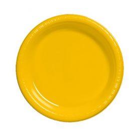 School Bus Yellow  Plastic Dinner Plate Plastic Bulk 9