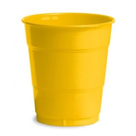 School Bus Yellow Plastic Cups, 12 Oz
