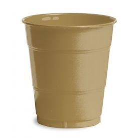 Glittering Gold Plastic Cups, 12 Oz