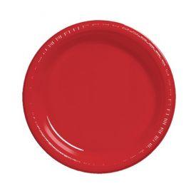 Classic Red  Plastic Dinner Plate Bulk 9