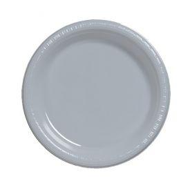 Shimmering Silver  Plastic Dinner Plate Bulk 9