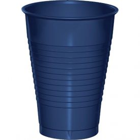 Navy Plastic Cups, 12 Oz