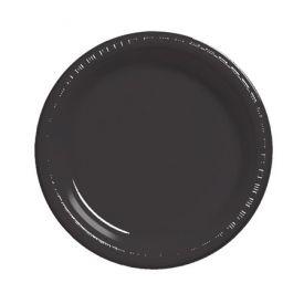 Black Velvet Banquet Plate Plastic Bulk 10