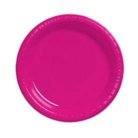 Hot Magenta  Plastic Dinner Plate 9
