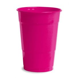 Hot Magenta Plastic Cups, 16 Oz