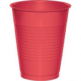 Coral Plastic Cups, 16 Oz