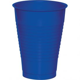 Cobalt Plastic Cups, 12 Oz
