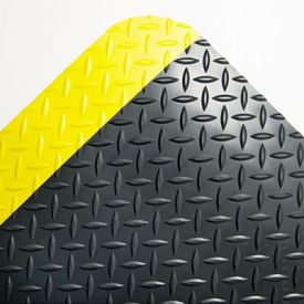 Crown Industrial Deck Plate Anti-Fatigue Mat, Vinyl, 24 x 36, Black/Yellow