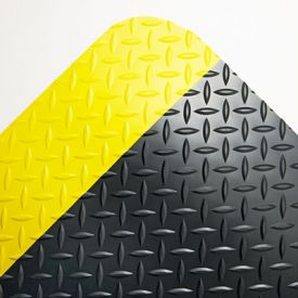 Crown Industrial Deck Plate Anti-Fatigue Mat, Vinyl, 36 x 60, Black/Yellow