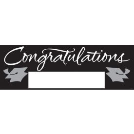 Fill-In Black/Silver Grad Giant Party Banner, 60