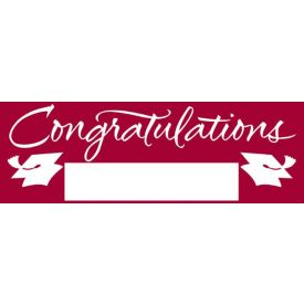 Fill-In Burgundy Grad Giant Party Banner, 60