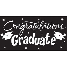 Black Velvet Congrats Grad Gigantic Greetings 10' x 5'