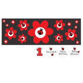 Ladybug Fancy Giant Party Banner, w/ Stickers