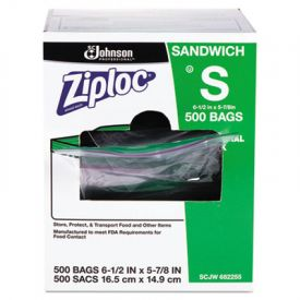 Ziploc® Resealable Sandwich Bags, 1.2 ML, 6-1/2 x 6, Clear