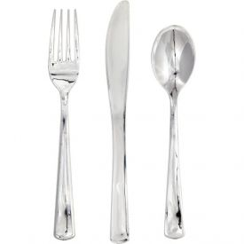 Silver Metallic Plastic Cutlery Assortment