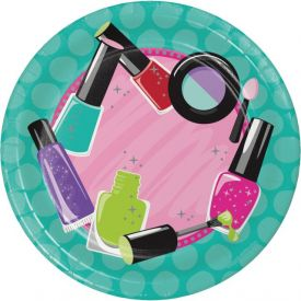 Sparkle Spa Party! Appetizer or Dessert Paper Plates with Icons