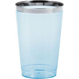 12 oz Plastic Tumbler w/Met Rim, Blue