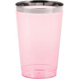 12 oz Plastic Tumbler w/Met Rim, Pink