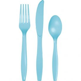 Pastel Blue Plastic Cutlery Assortment