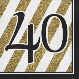 Black & Gold Lunch Napkins, 40