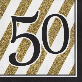 Black & Gold Lunch Napkins, 50