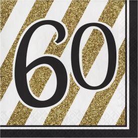 Black & Gold Lunch Napkins, 60