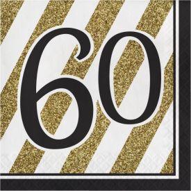 Black & Gold Lunch Napkins, 60