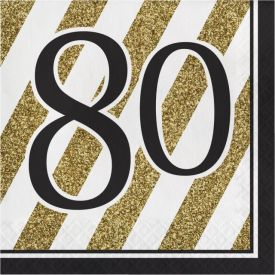 Black & Gold Lunch Napkins, 80