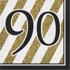 Black & Gold Lunch Napkins, 90