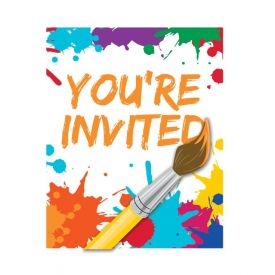 Art Party Invitations with Attachment