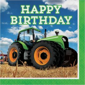 Tractor Time Lunch Napkins, Happy Bday