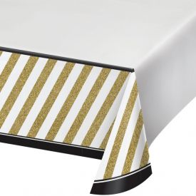 Black & Gold Plastic Tablecover 54