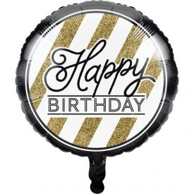 Black & Gold Metallic Balloon, Happy Birthday