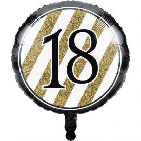 Black & Gold Metallic Balloon, 18th