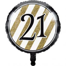 Black & Gold Metallic Balloon, 21st