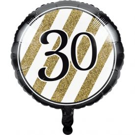 Black & Gold Metallic Balloon, 30th