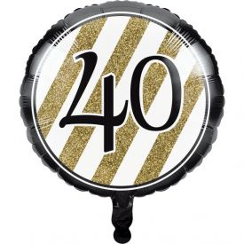 Black & Gold Metallic Balloon, 40th