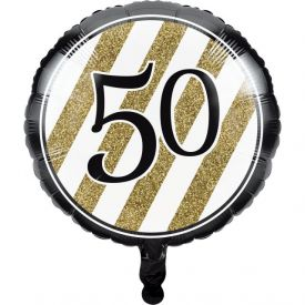 Black & Gold Metallic Balloon, 50th