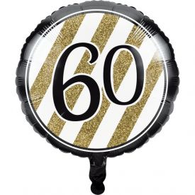 Black & Gold Metallic Balloon, 60th