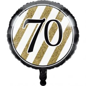 Black & Gold Metallic Balloon, 70th