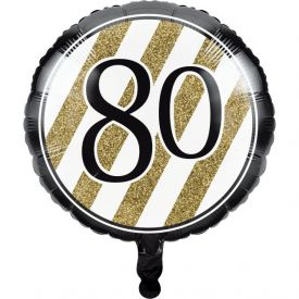 Black & Gold Metallic Balloon, 80th