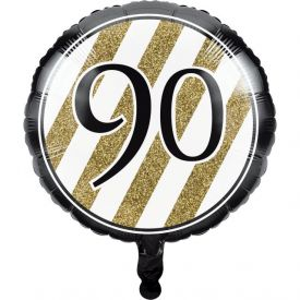 Black & Gold Metallic Balloon, 90th