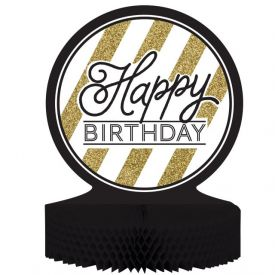 Black & Gold Centerpiece, Honeycomb, Happy Birthday