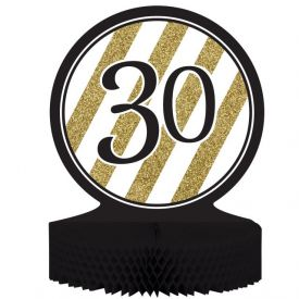 Black & Gold Centerpiece, Honeycomb, 30