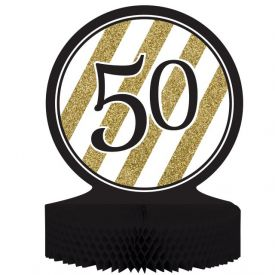Black & Gold Centerpiece, Honeycomb, 50