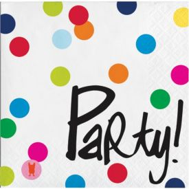 French Bull Birthday Dots Beverage Napkin, 3 ply