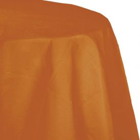 Pumpkin Spice Round Table Covers, Paper Lined with Plastic 82