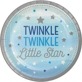 One Little Star - Blue Snack or Dessert Plates Twinkle 7