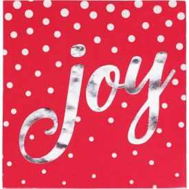 Holiday Sparkle & Shine Red Beverage Napkin, Joy