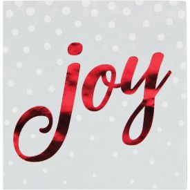 Holiday Sparkle & Shine Silver Beverage Napkin, Joy